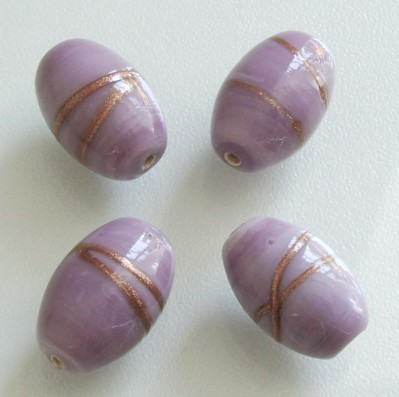 Lampwork Glasperlen * Oval * Lila / Goldstripe * 18x12mm