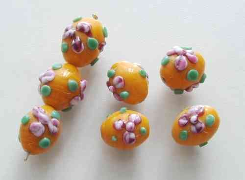 Lampwork Glasperlen * Oval * Orange mit Blüten * 15x12mm
