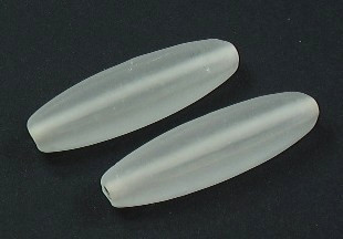 Glasperle * Olive/Spindel, 4-kantig * Crystal, mattiert * 38-40x9mm