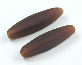 Glasperle * Olive/Spindel, 4-kantig * Dark Topaz, mattiert * 38-40x9mm
