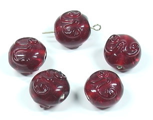 Lampwork Glasperlen * Button / Linse * Rot * 16x10mm