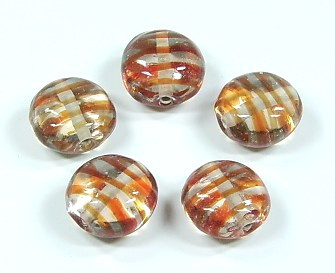 Lampwork Glasperlen * Button / Linse * Crystal-Orange * 16x12-13mm