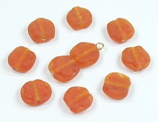 Glasperle * Button mit Blumenmotiv * Orange, mattiert * 10x5mm