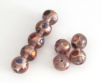10 Stk. Lampwork Glasperlen * Rund * Light Amethyst / Goldfoil * Ø 11-12mm